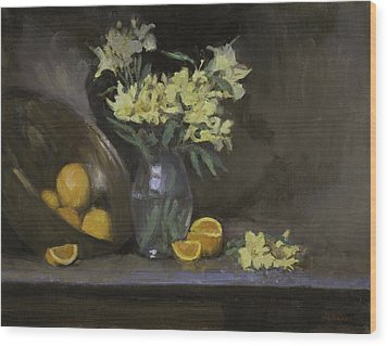 Peruvian Lilies With Oranges Wood Print by Walter Lynn Mosley