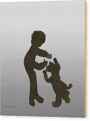 Wood Print featuring the digital art Pet Dog by Asok Mukhopadhyay