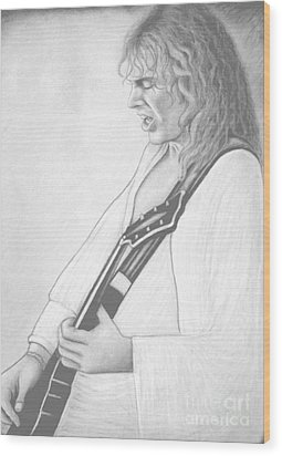 Peter Frampton Black And White Wood Print by Denise Haddock