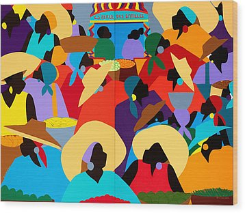Petion-ville Market Diptych Wood Print by Synthia SAINT JAMES