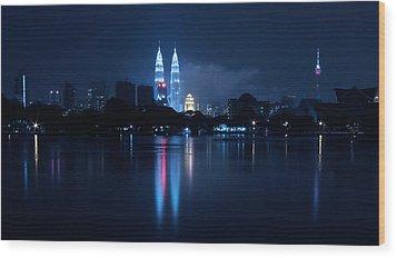 Petronas Towers Taken From Lake Titiwangsa In Kl Malaysia. Wood Print