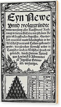 Petrus Apianus's Pascal's Triangle, 1527 Wood Print by
