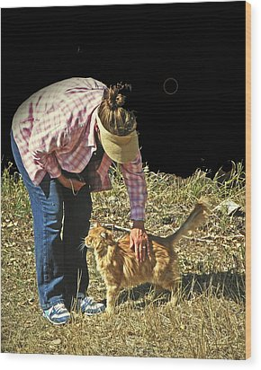 Petting The Ranch Cat Wood Print by Lenore Senior and Dawn Senior-Trask