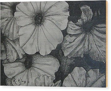 Wood Print featuring the drawing Petunia's In The Sun by Roena King