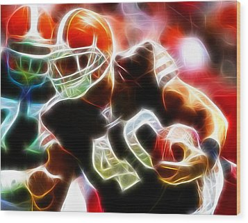 Peyton Hillis Magical Wood Print by Paul Van Scott