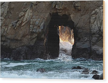 Pfeiffer Rock Big Sur Wood Print by Bob Christopher