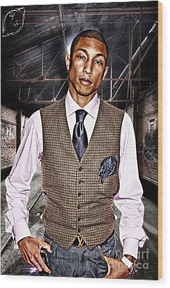 Pharrell Wood Print by The DigArtisT