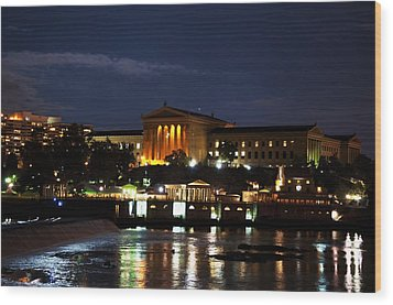 Philadelphia Art Museum And Waterworks All Lit Up Wood Print by Bill Cannon