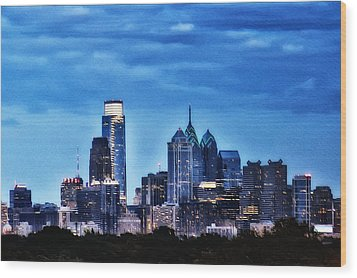 Philadelphia At Night Wood Print by Bill Cannon