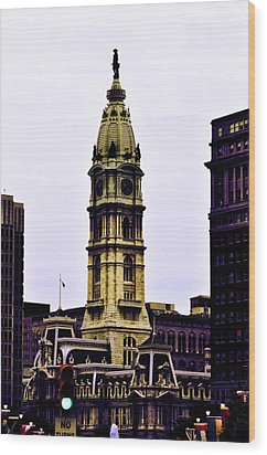 Philadelphia City Hall Tower Wood Print by Bill Cannon