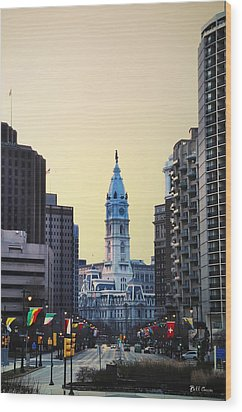 Philadelphia Cityhall At Dawn Wood Print by Bill Cannon