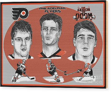 Philadelphia Flyers Legion Of Doom Wood Print by Chris  DelVecchio
