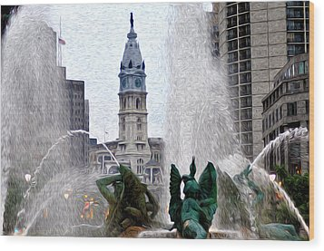 Philadelphia Fountain Wood Print by Bill Cannon