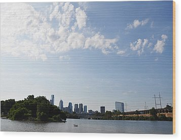 Philadelphia From Kelly Drive Wood Print by Bill Cannon