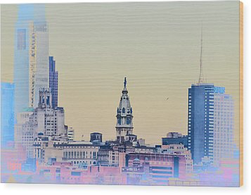 Philadelphia From South Camden Wood Print by Bill Cannon