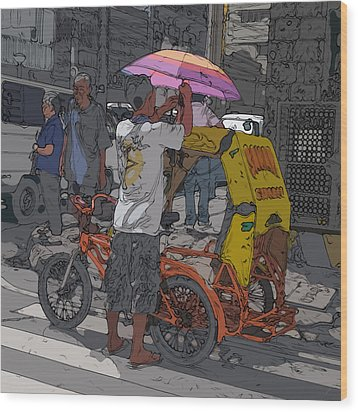 Philippines 870 Bicycle Taxi Wood Print by Rolf Bertram