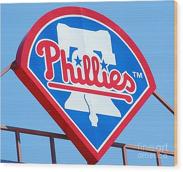 Phillies Logo Wood Print by Carol Christopher