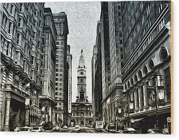 Philly - Broad Street Wood Print by Bill Cannon