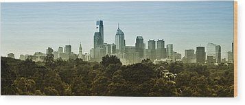 Philly Panorama Wood Print by Bill Cannon
