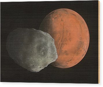 Phobos And Mars, Artwork Wood Print by Richard Bizley