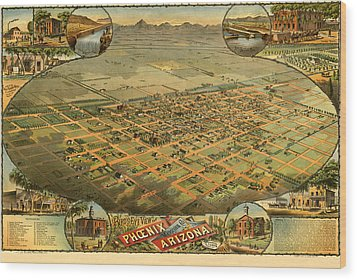 Phoenix Arizona 1885 Wood Print by Donna Leach