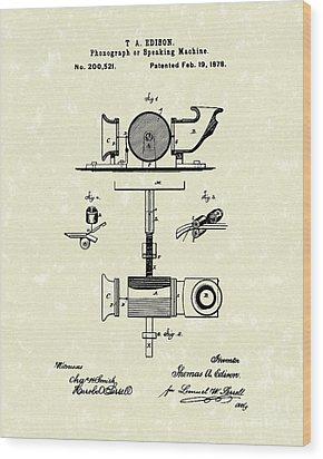 Phonograph 1878 Patent Art  Wood Print by Prior Art Design