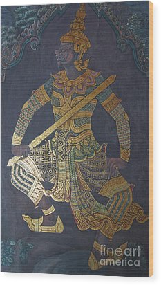 photo of art painting on Thai temple wall Wood Print by Komkrit Muanchan
