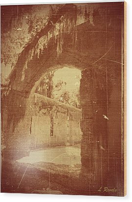 Photos In An Attic - The Ruins Wood Print by Leslie Revels Andrews