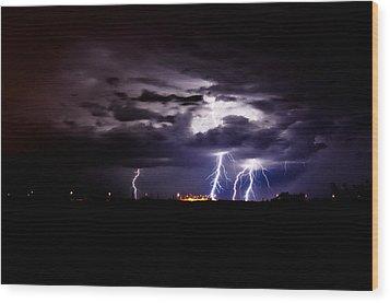Phx Night Lightning 6 Wood Print by Kenny Jalet