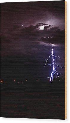 Phx Night Lightning 8 Wood Print by Kenny Jalet