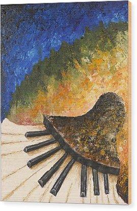 Piano Jazz Wood Print by Draia Coralia