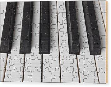 Piano Keys Jigsaw Wood Print by Garry Gay
