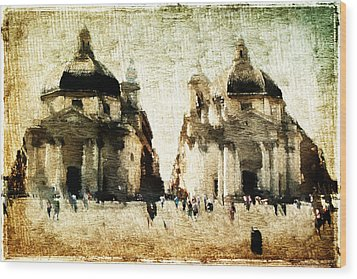 Wood Print featuring the digital art Piazza Del Popolo by Andrea Barbieri
