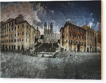 Wood Print featuring the digital art Piazza Di Spagna by Andrea Barbieri