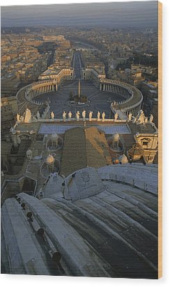 Piazza San Pietro As Seen From The Dome Wood Print by James L. Stanfield