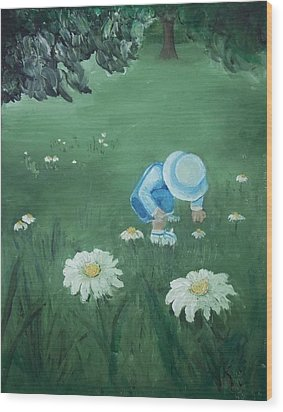Wood Print featuring the painting Picking Flowers by Angela Stout