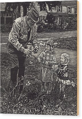 Picking Flowers With Grandpa Wood Print by Robert Goudreau