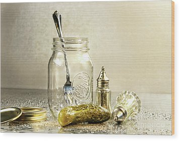 Pickle With A Jar And Antique Salt And Pepper Shakers Wood Print by Sandra Cunningham