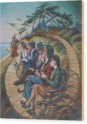 Picnic At Lepe Wood Print by Gilly Marklew