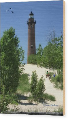 Wood Print featuring the photograph Picnic By The Lighthouse by Joan Bertucci