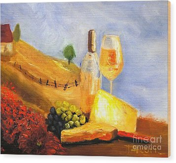 Picnic In The Vineyard Wood Print by Therese Alcorn