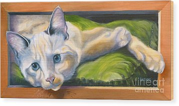 Picture Purrfect Wood Print by Susan A Becker