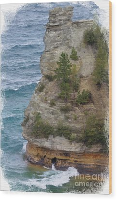 Wood Print featuring the photograph Pictured Rocks In Oil by Deniece Platt