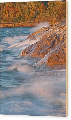 Pictured Rocks Lake Superior Wood Print by Dean Pennala