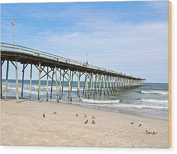 Pier At Kure Beach Wood Print by Eve Spring