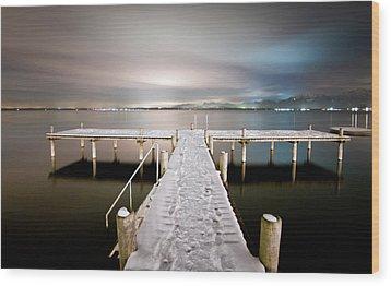 Pier At Night Wood Print by daitoZen