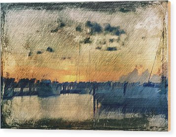 Wood Print featuring the digital art Pier At Sunset by Andrea Barbieri