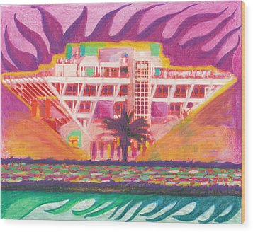 Pier In The Pink Wood Print by Sheree Rensel