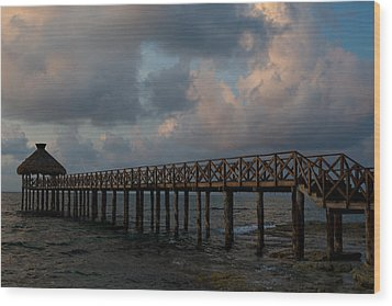 Pier Into Dawn Wood Print