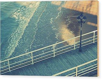 Pier With Lamp On Coast Of North Sea Wood Print by Photo by Ira Heuvelman-Dobrolyubova